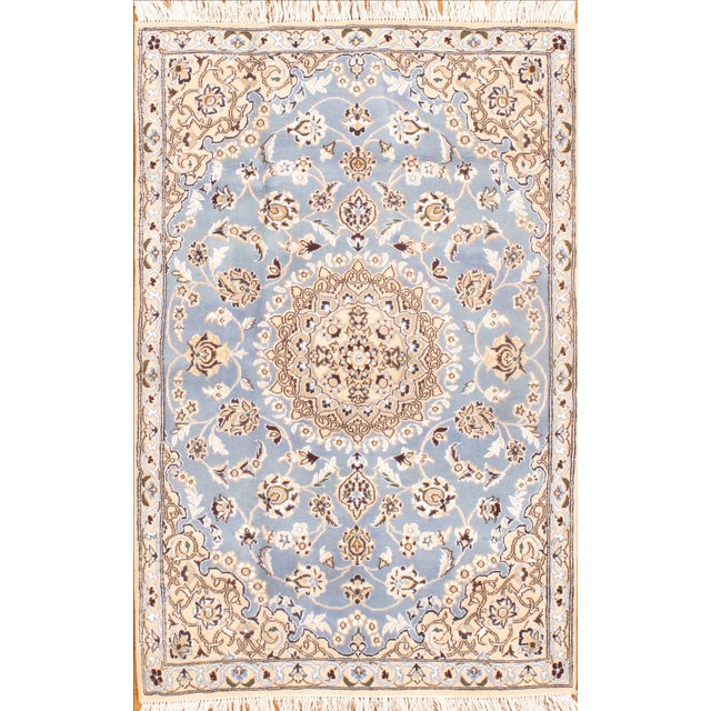 "Islamic Persian Nain Silk & Wool Rug - 2'10"" X 4'5"" For Sale - Image 3 of 3"