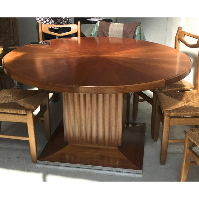 Lucien Rollin Lucien Rollin Spectacular Pure Large Round Dining Table With Central Foot For Sale - Image 4 of 4