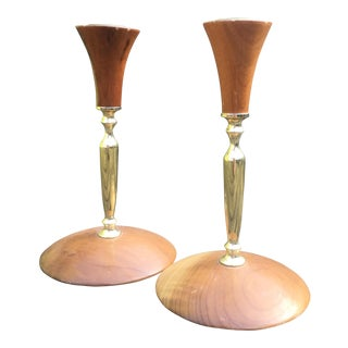 Mid-Century Modern Myrtlewood Candlesticks- A Pair For Sale