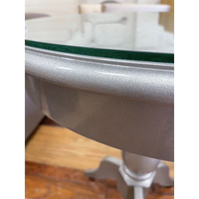 Early 21st Century Nordstroms Silver Finish Pedestal Side Table + Glass Top For Sale - Image 5 of 10