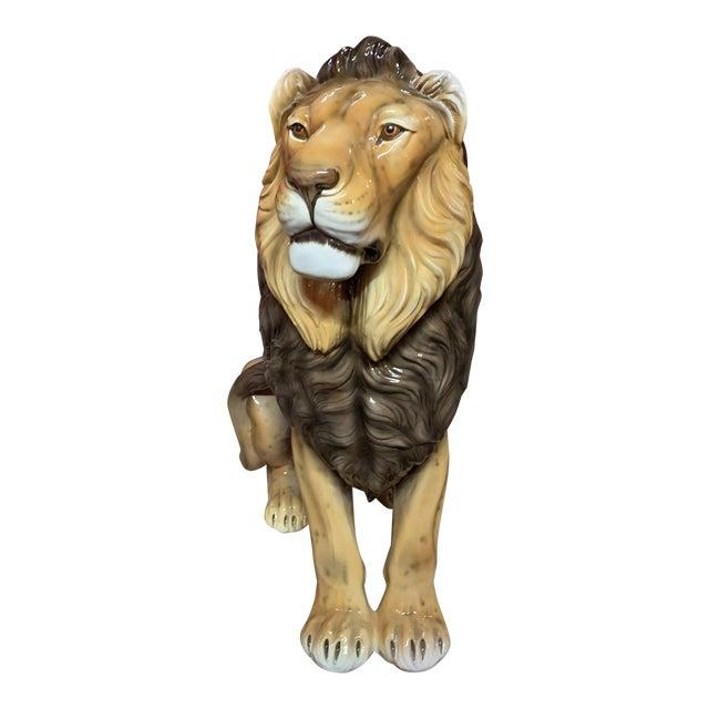 Glazed Terra Cotta Lion Statue For Sale