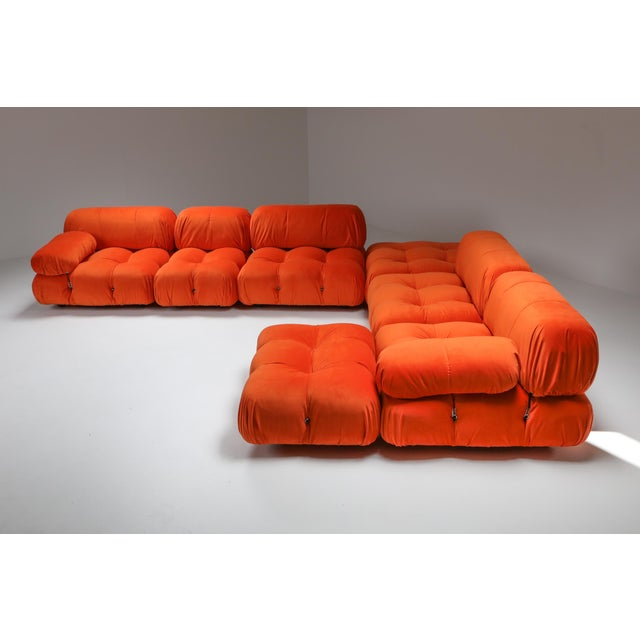 Textile 1970s Camaleonda Sectional Sofa in Bright Orange For Sale - Image 7 of 9