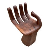 Image of 1970s Vintage Wooden Hand Shaped Chair For Sale
