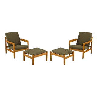 Pair of Oak Lounge Chairs W/ Ottomans by Borge Mogensen Circa 1960s