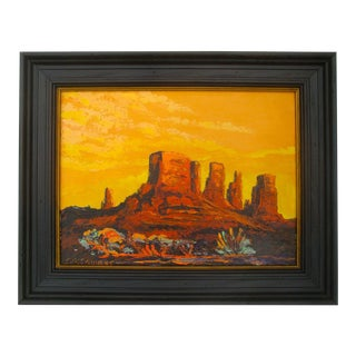 1970s Western Badlands Landscape at Sunset Painting