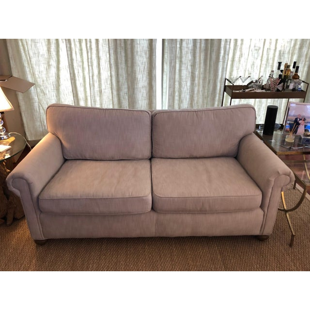 Tan Modern Restoration Hardware Linen Upholstered Standard Sofa For Sale - Image 8 of 8