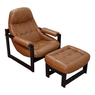 Mid-Century Brazilian Lounge Chair and Ottoman by Percival Lafer, 2 Pieces For Sale