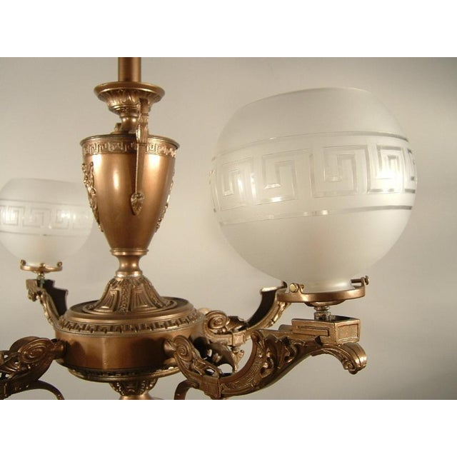 Gold Renaissance Spelter Gas Fixture (4-Light) For Sale - Image 8 of 8