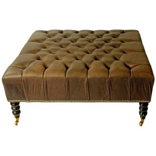 1980s Vintage English Tufted Leather Ottoman For Sale