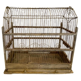 Charming Large Metal Arched Top Vintage Birdcage For Sale