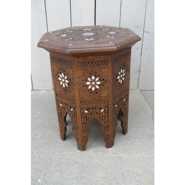 Brown Moroccan Middle Eastern Style Inlaid Side Table For Sale - Image 8 of 8