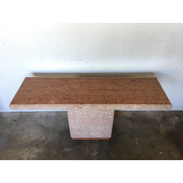 Vintage Pink Italian Marble Modernist Console Table - Image 4 of 9