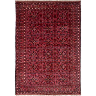 """Hand-Knotted Afghan Tribal Rug- 6'7"""" X 9'8"""" For Sale"""