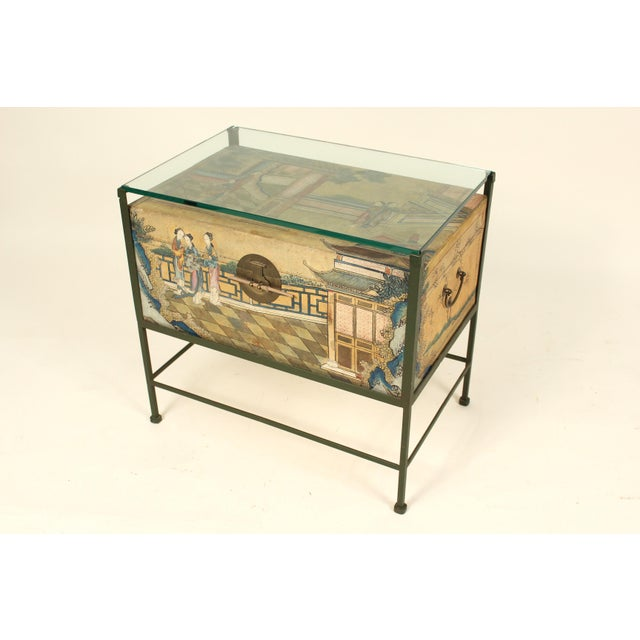 1920s Chinese Polychrome Decorated Pigskin Occasional Table For Sale - Image 5 of 13