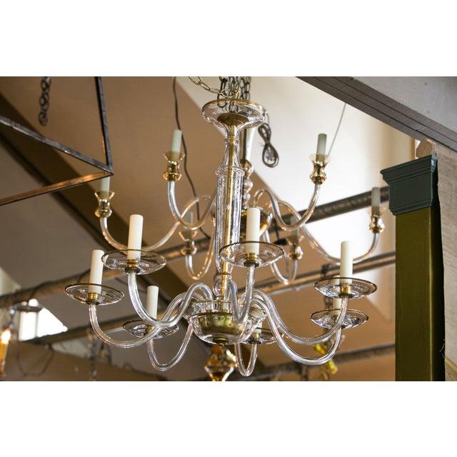 Italian Clear Glass Chandelier For Sale In Houston - Image 6 of 8