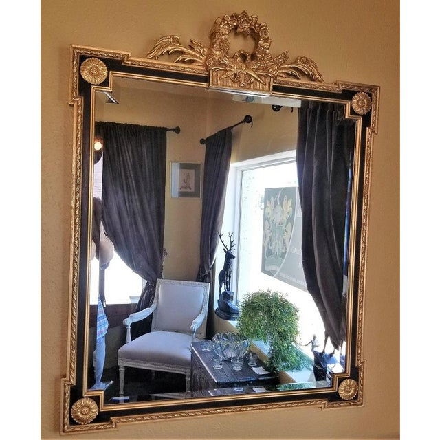 Louis XVI Style Giltwood & Ebony Beveled Glass Mirror For Sale In Dallas - Image 6 of 8