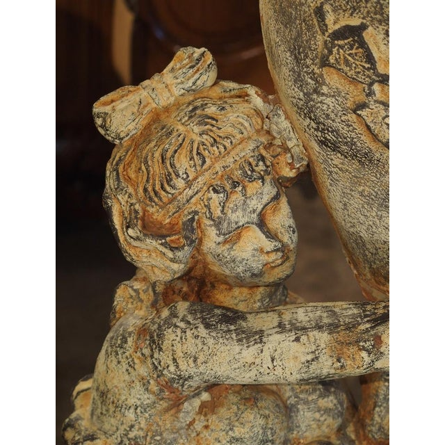 Beautiful Pair of Antique Cast Iron Figural Garden Urns For Sale - Image 10 of 13