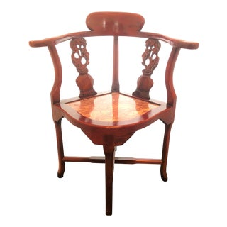 Antique Rosewood Hand Carved Cherry Blossom Inlay Corner Chair Granite Seat For Sale