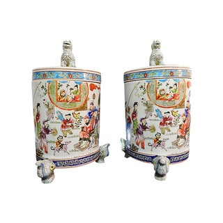 Famille Rose Tea Canisters - A Pair For Sale