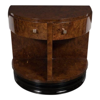 Demilune Side Table in Carpathian Elm by Donald Deskey for Widdicomb Co. For Sale