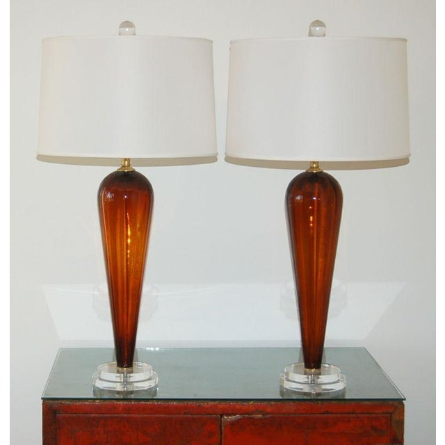 Brass Vintage Italian Glass Teardrop Table Lamps For Sale - Image 7 of 9