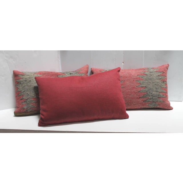 Group of Three Navajo Indian Weaving Bolster Pillows For Sale - Image 4 of 5