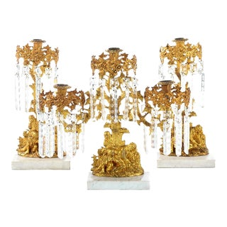 Figural Gilt Bronze Candle Holders - Set of 3 For Sale
