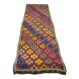 1960s Vintage Turkish Traditional Handwoven Hallway Kilim Rug- 2′8″ × 8′9″ For Sale