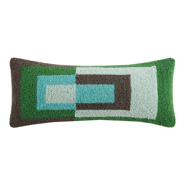 "Cool Geometric Rectangle Hook Pillow, 9"" x 22"" For Sale"
