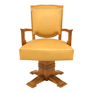 French Art Deco Beige Leather Swivel Chair For Sale
