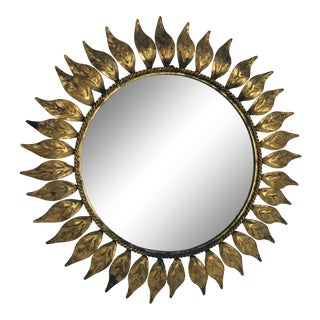 French Mid Century Sun Burst Mirror For Sale