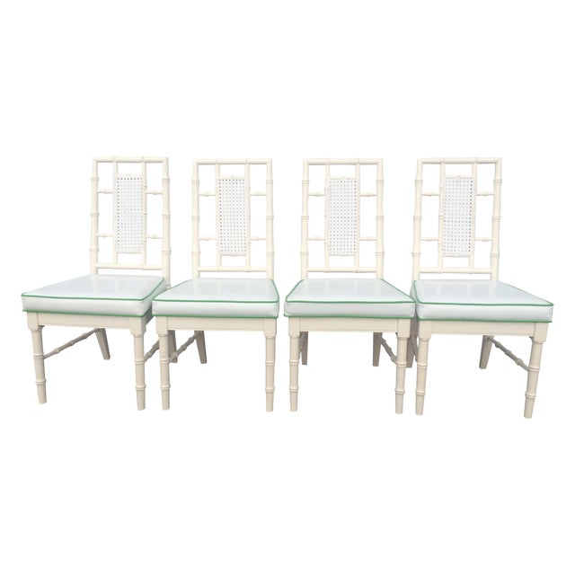 Faux Bamboo Dining Chairs With Cane Back - S/4 - Image 1 of 9