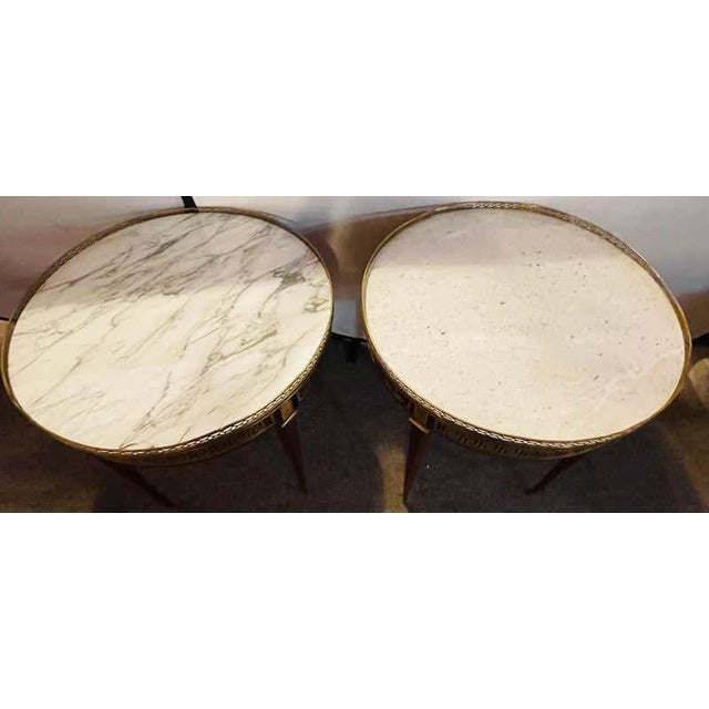 Pair of Marble Top Greek Key Bouillotte or End Tables, Manner of Jansen For Sale - Image 9 of 11