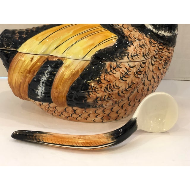 1970s Italian Hand Painted Glazed Ceramic Pheasant Soup Tureen For Sale - Image 5 of 13