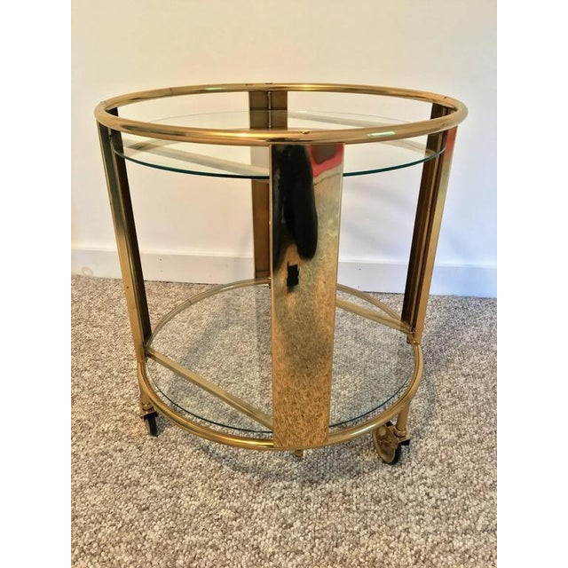 Italian Modernist Design Round Polished Brass Bar Cart - Image 4 of 9