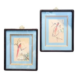 1950s Vintage Botanic Bird Blossom Framed Watercolor Paintings - A Pair For Sale