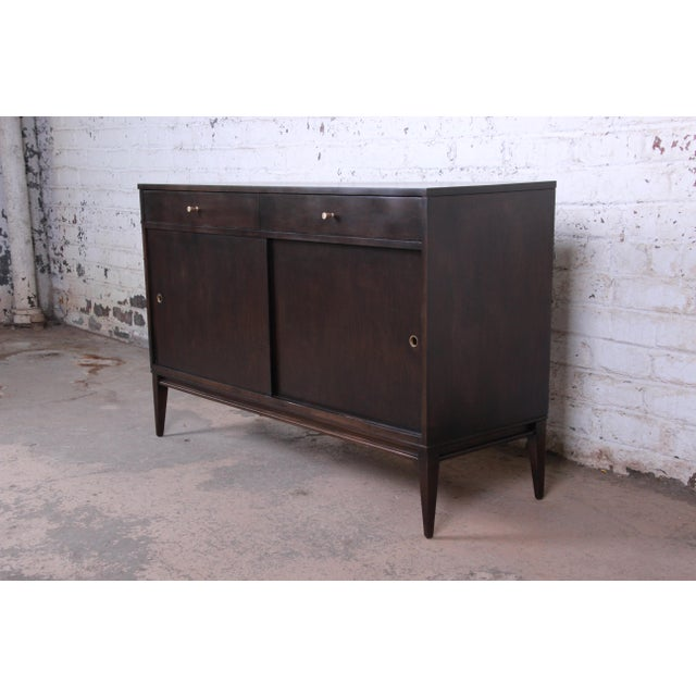 Planner Group Paul McCobb Planner Group Sliding Door Sideboard Credenza or Record Cabinet For Sale - Image 4 of 12