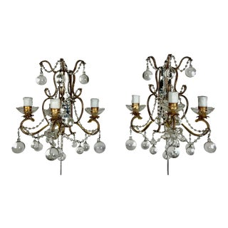 Pair of French Mirror & Crystal Beaded Sconces For Sale