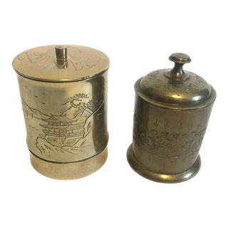 Vintage Brass Chinese and Indian Canisters For Sale