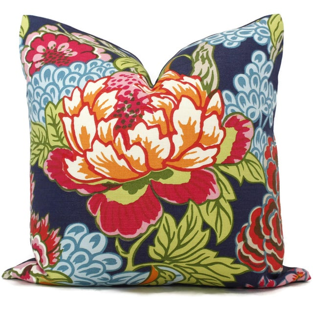 Blue and Pink Floral Decorative Pillow Cover in Thibaut Honshu For Sale - Image 4 of 4