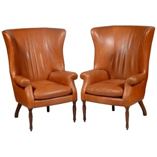 Pair of Classic High Back Saddle Leather Wing Back Fireplace or Parlour Chairs For Sale