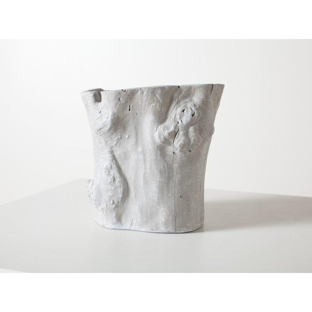 Traditional Light Grey Resin Tree Hollow Planter For Sale - Image 6 of 6