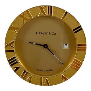 Tiffany & Co. Vintage Atlas Brass Travel Alarm Clock With Sleeper Pouch & Original Box For Sale