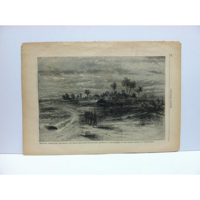 """Late 19th Century Antique """"Redoubt Commanding the Beach Two Miles From Fort Beauregard"""" Pictorial Battles of the Civil War Print For Sale - Image 4 of 4"""