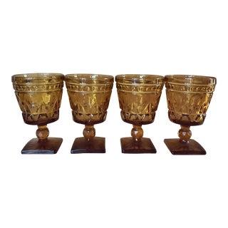 Mid-Century Amber Wine Goblets - Set of 4