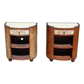 Vintage Pair Rustic Distressed Painted Birch Bark Demilune Nightstands End Tables For Sale