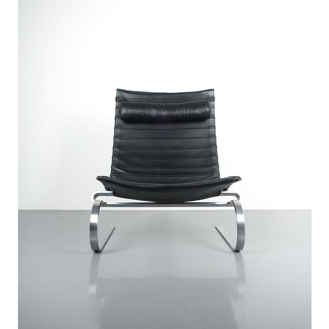1980s Poul Kjærholm Early Fritz Hansen Pk20 Lounge Chair in Black Leather, 1987 For Sale - Image 5 of 12