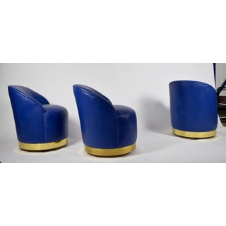 Karl Springer Style Chairs in Blue Leather- Set of 3 Preview