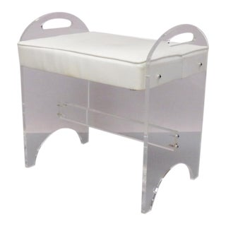 Lucite Bench in Original Vinyl by Rialto For Sale