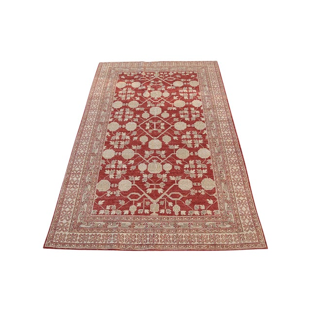 """Hand Knotted Multi Color Rug - 5' x 8'3"""" For Sale"""